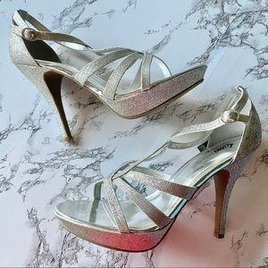 Fioni Night Jinx Strappy Glitter Platform Heels